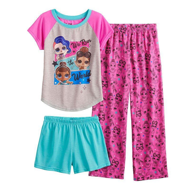 Girls 4-10 L.O.L Surprise! We Run the World Top. Shorts & Pants Pajama Set. Girl's. Multicolor