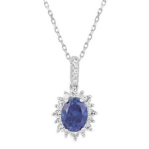 Simply Vera Vera Wang Sterling Silver Lab-Created Blue & White Sapphire Oval Pendant Necklace