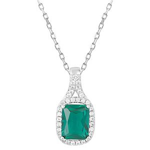 Simply Vera Vera Wang Sterling Silver Lab-Created Emerald & White Sapphire Pendant Necklace