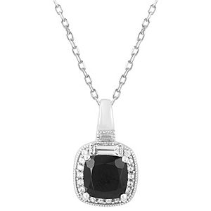 Simply Vera Vera Wang Sterling Silver Midnight Sapphire & White Sapphire Cushion Pendant Necklace