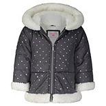 Baby Girl Carter's Grey Dot Sherpa Fashion Coat