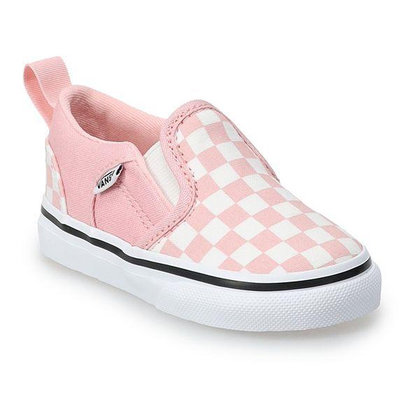 Vans® Asher V Kids' Pink Checkered Skate Shoes