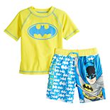 Toddler Boy DC Comics Batman Rashguard Top & Swim Trunks Set