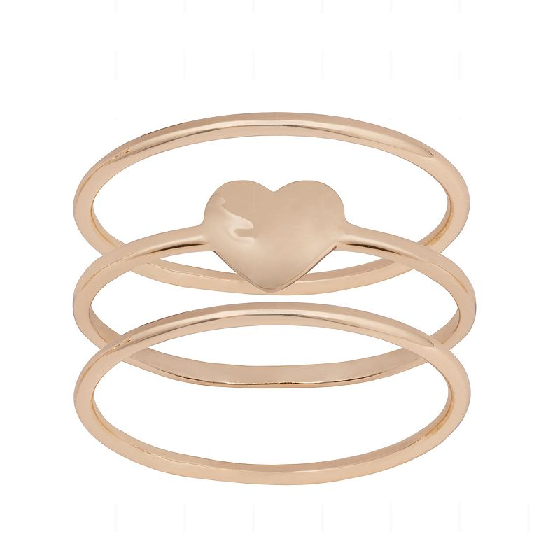 LC Lauren Conrad Gold Tone Heart Ring Set, Women's, Size: 9