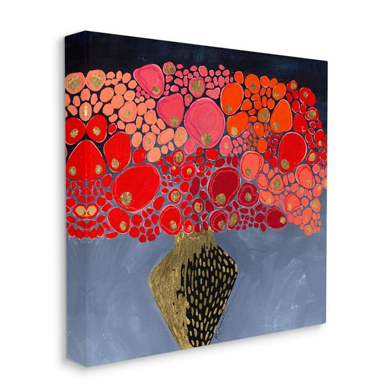 Stupell Home Decor Red Abstract Round Flower Bouquet in Vase Wall Art, 17X17