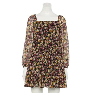 Juniors' Trixxi Long Sleeve Godet Dress