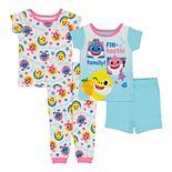 "Baby Girl Baby Shark ""Fin-Tastic Family"" 4 Piece Pajama Set"