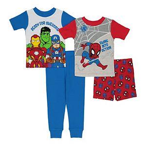 Toddler Boy Marvel 4 Piece Super Heroes Action Time Pajama Set