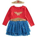 Girls Wonder Woman Dress Up Costume & Tiara