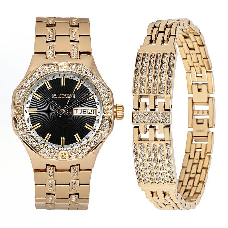 Elgin Men's Crystal Watch & Bracelet Set, Size: XL, Gold -  FG160056STKL