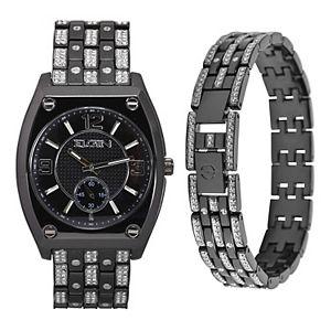 Elgin Men's Gunmetal Tone Watch & Bracelet Set