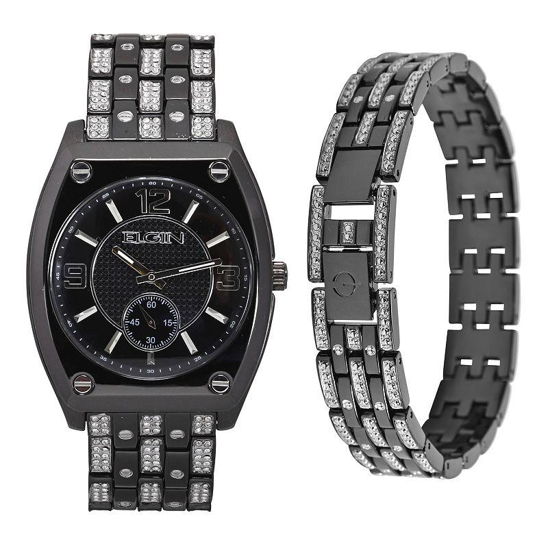 Elgin Men's Gunmetal Tone Watch & Bracelet Set, Size: XL, Black -  FG9752STKL