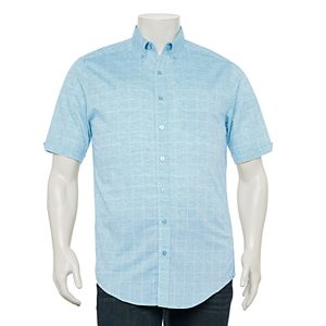 Big & Tall Haggar® Classic-Fit Windowpane Linen-Blend Button-Down Shirt