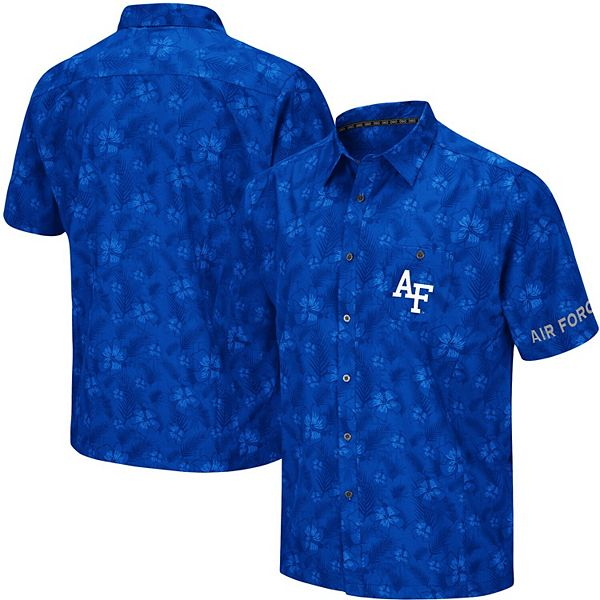 Men's Colosseum Royal Air Force Falcons Molokai Camp Button-Up Shirt