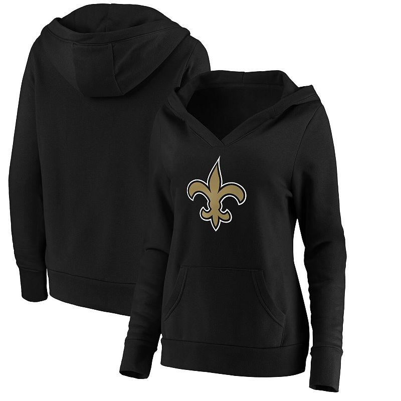 Women's NFL Pro Line by Fanatics Branded Black New Orleans Saints Primary Team Logo V-Neck Pullover Hoodie, Size: 2XL