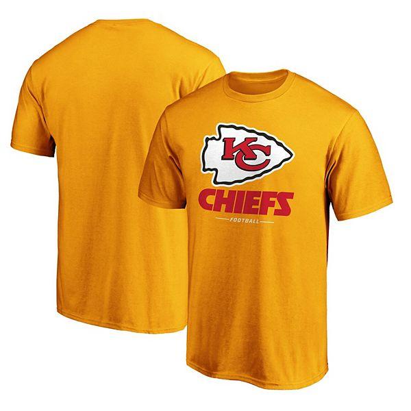 Men's NFL Pro Line by Fanatics Branded Yellow Kansas City Chiefs Team Lockup Logo T-Shirt