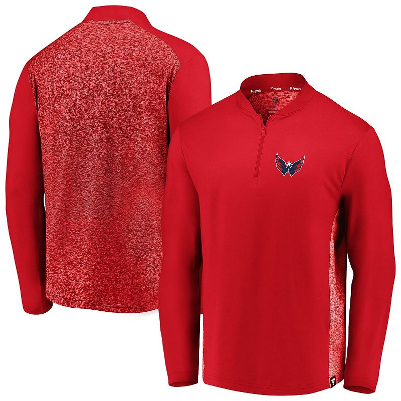 Men's Fanatics Branded Red Washington Capitals Iconic Clutch Quarter-Zip Jacket, Size: 4XL