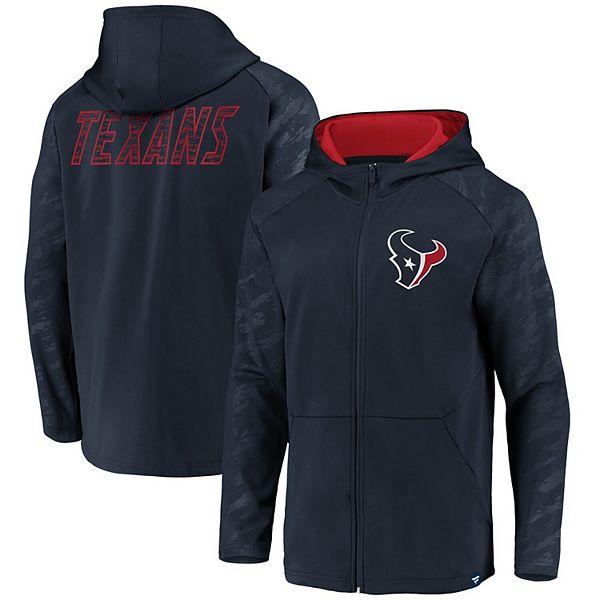Men's NFL Pro Line by Fanatics Branded Navy Houston Texans Iconic Embossed Defender Full-Zip Hoodie