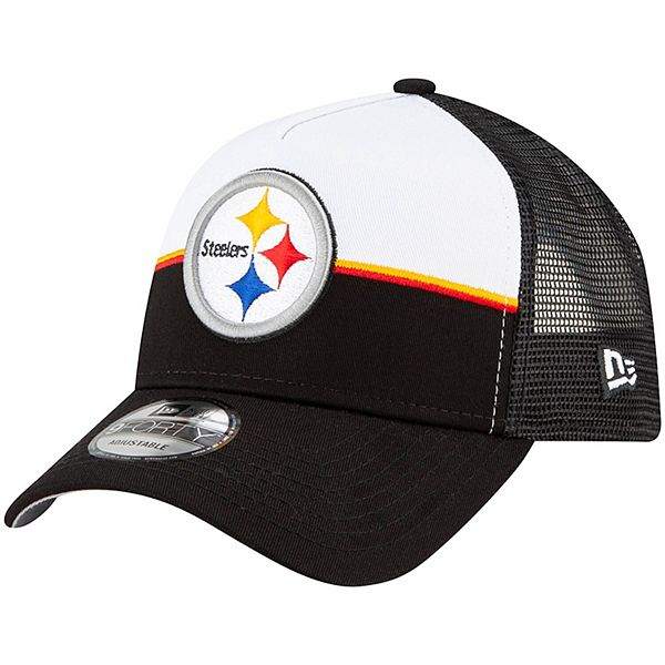 Men's New Era White/Black Pittsburgh Steelers Retro Trucker 9FORTY Snapback Hat
