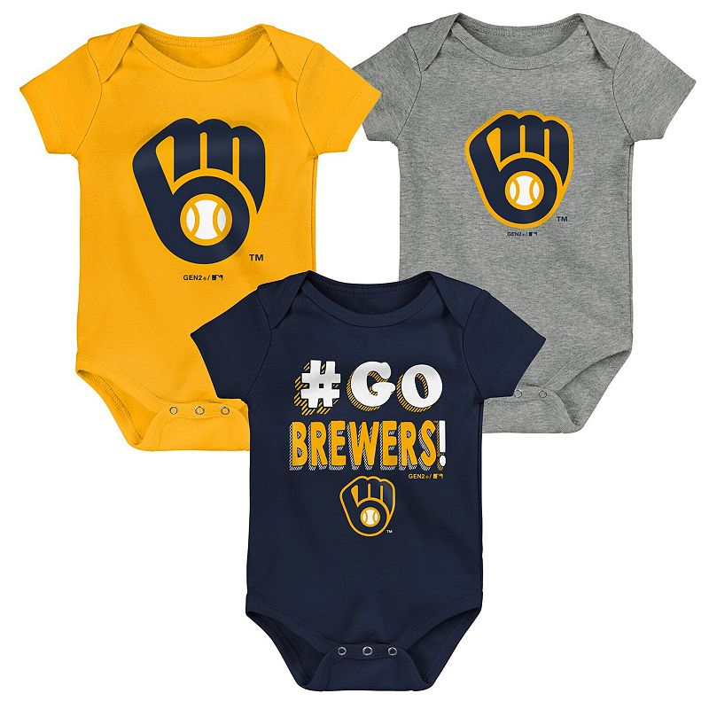 Newborn & Infant Navy/Gold/Gray Milwaukee Brewers Born To Win 3-Pack Bodysuit Set, Infant Unisex, Size: 0-3 Months, Blue