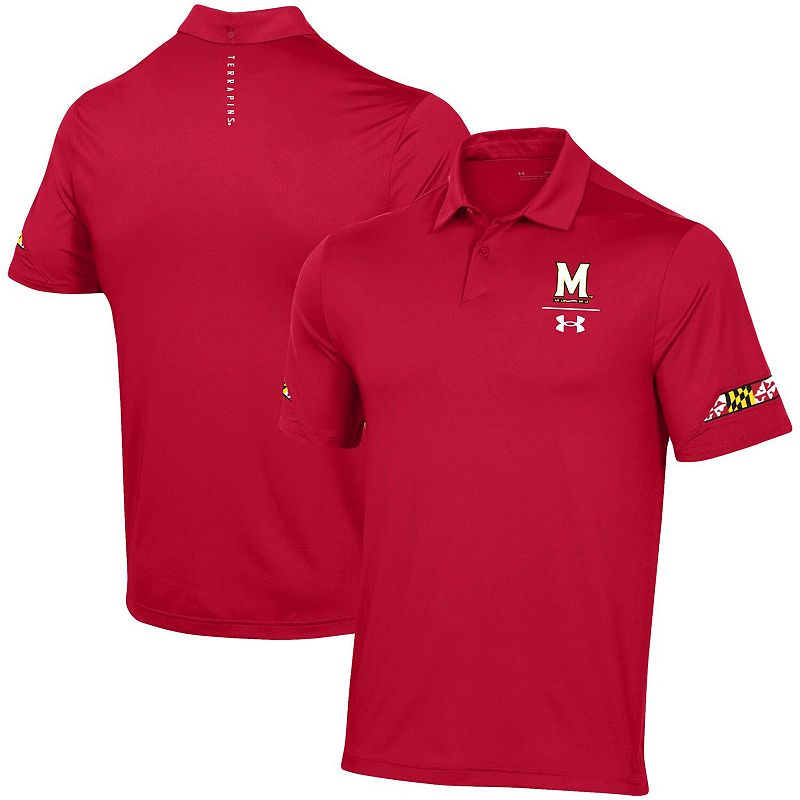 Men's Under Armour Red Maryland Terrapins Elevated Coaches Polo, Size: XL