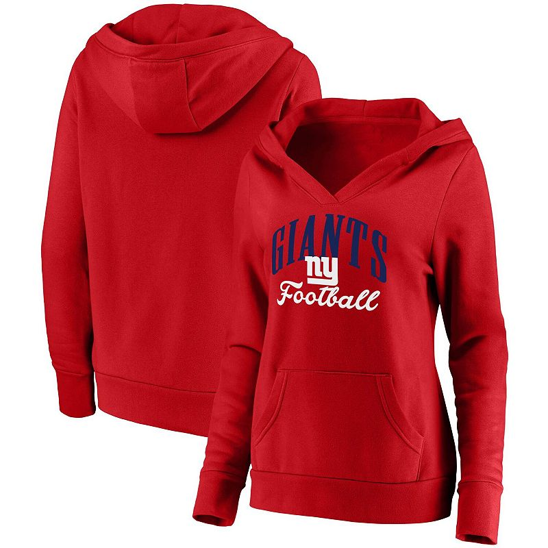Women's NFL Pro Line by Fanatics Branded Red New York Giants Team Victory Script Crossover Pullover Hoodie, Size: Large