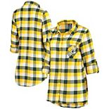 Women's Concepts Sport Green/Gold Green Bay Packers Button-Up Breakout Flannel Nightshirt