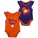 Girls Newborn & Infant Orange/Purple Clemson Tigers Touchdown 2-Pack Bodysuit Set