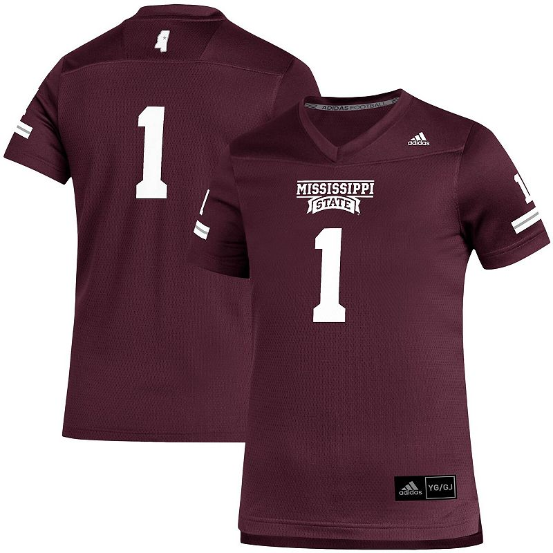 Youth adidas #1 Maroon Mississippi State Bulldogs Team Replica Football Jersey, Boy's, Size: YTH Medium, Red