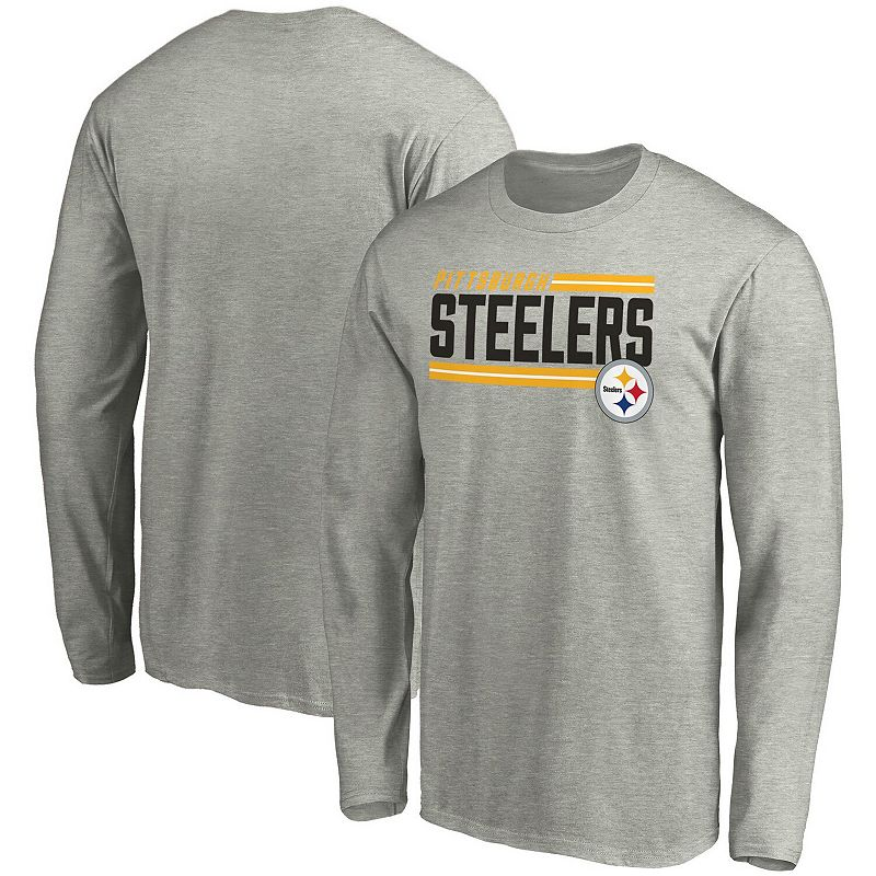 Men's NFL Pro Line by Fanatics Branded Heathered Gray Pittsburgh Steelers Big & Tall On Side Stripe Long Sleeve T-Shirt, Size: 4XLT, Grey