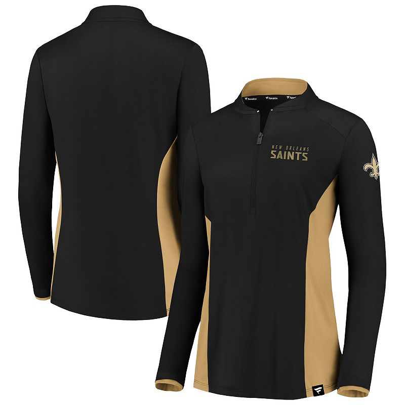 Women's NFL Pro Line by Fanatics Branded Black/Gold New Orleans Saints Iconic Marble Clutch Half-Zip Pullover Jacket, Size: 2XL