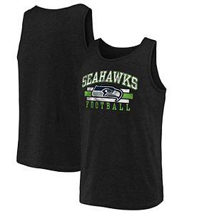 Men's NFL Pro Line by Fanatics Branded Black Seattle Seahawks Distressed Logo Tank Top
