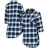 Women's Concepts Sport Royal/Black Indianapolis Colts Button-Up Breakout Flannel Nightshirt