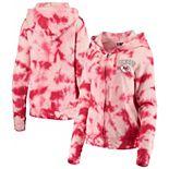 Women's New Era Red Kansas City Chiefs Tie Dye Fleece Full-Zip Hoodie
