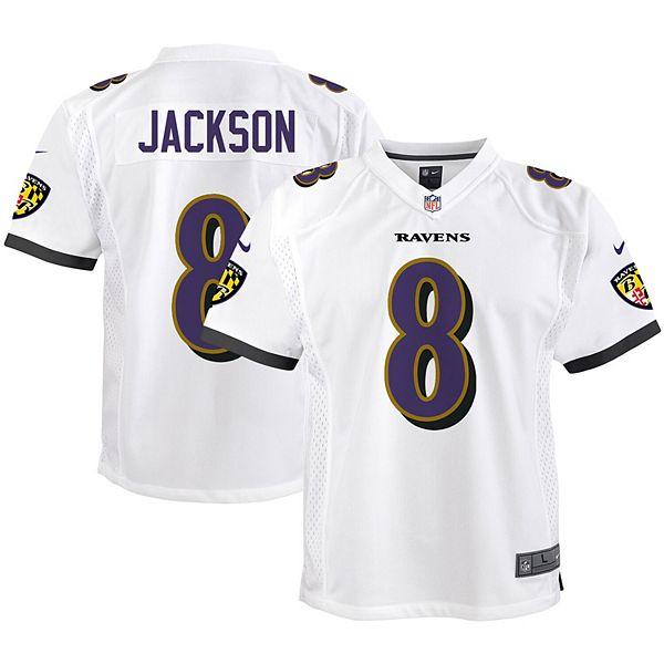 Youth Nike Lamar Jackson White Baltimore Ravens Game Jersey