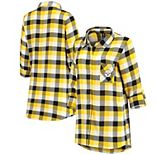Women's Concepts Sport Black/Gold Pittsburgh Steelers Button-Up Breakout Flannel Nightshirt