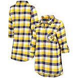Women's Concepts Sport Purple/Gold Minnesota Vikings Button-Up Breakout Flannel Nightshirt