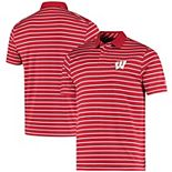 Men's Under Armour Red Wisconsin Badgers Wordmark Stripe Performance Polo