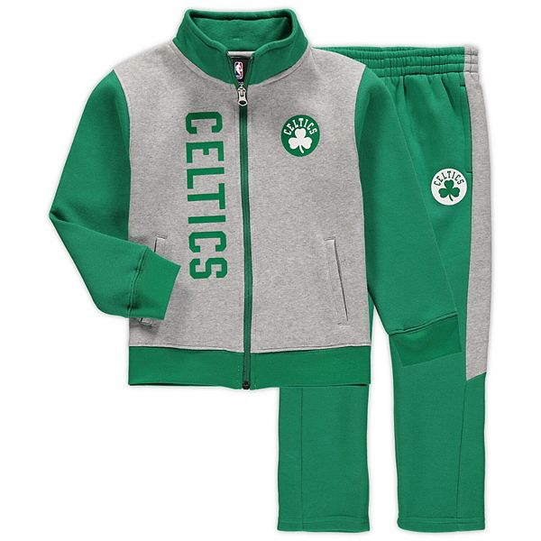 Preschool Gray/Kelly Green Boston Celtics On The Line Fleece Jacket and Pants Set