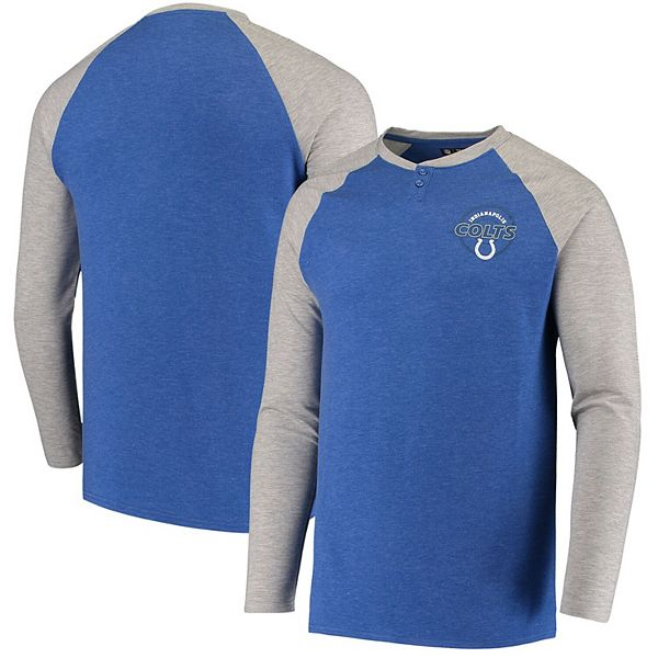 Men's Concepts Sport Heathered Royal Indianapolis Colts Parkway Raglan Henley Long Sleeve T-Shirt