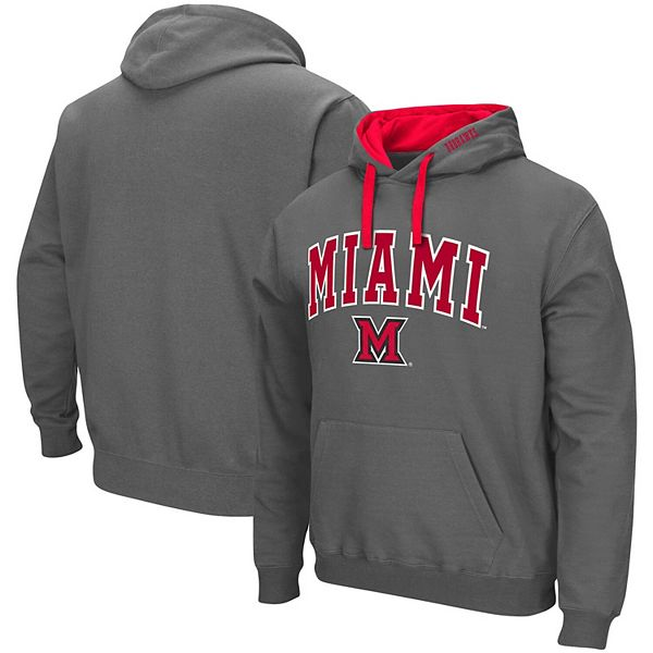 Men's Colosseum Charcoal Miami University RedHawks Arch & Logo 2.0 Pullover Hoodie