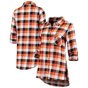 Women's Concepts Sport Black/Orange San Francisco Giants Breakout Flannel Long Sleeve Nightshirt