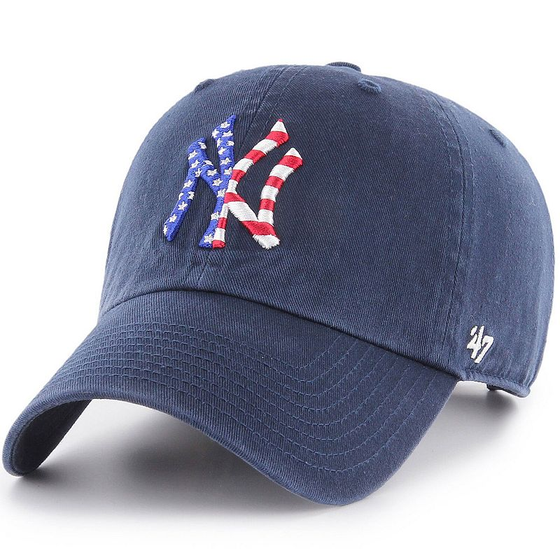 Men's '47 Navy New York Yankees Spangled Clean-Up Adjustable Hat, Blue