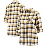 Women's Concepts Sport Black/Gold New Orleans Saints Plus Size Breakout Flannel Nightshirt