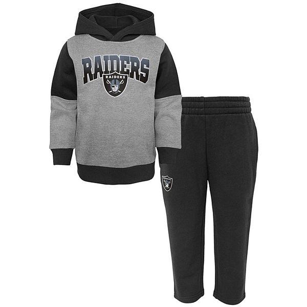 Toddler Heathered Gray/Black Las Vegas Raiders Sideline Hoodie & Pants Set