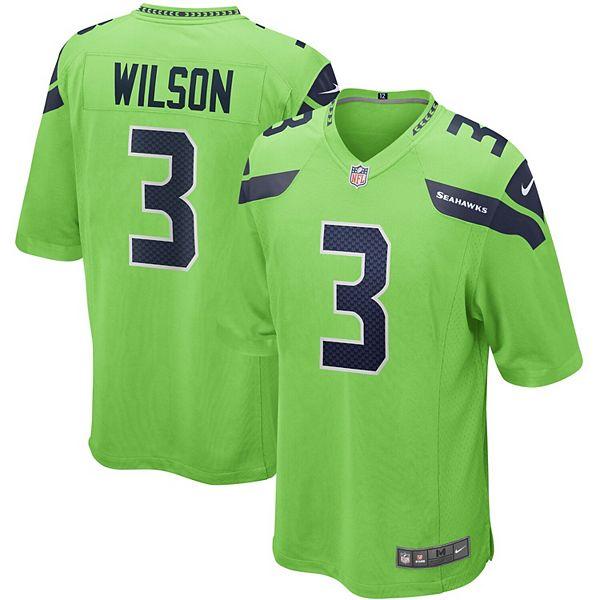 Men's Nike Russell Wilson Neon Green Seattle Seahawks Alternate Game Jersey