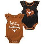 Girls Newborn & Infant Texas Orange/Black Texas Longhorns Touchdown 2-Pack Bodysuit Set