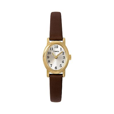 Timex Cavatina Gold-Tone Leather Watch - Women