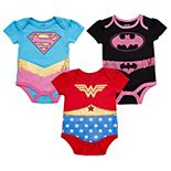 Baby Girl Justice League 3-pack Bodysuits