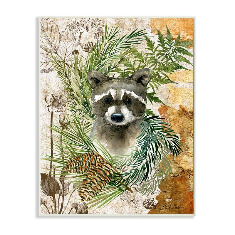 Stupell Home Decor Children's Raccoon in Forest Wild Animal Illustration Wall Art, Brown, 10X15